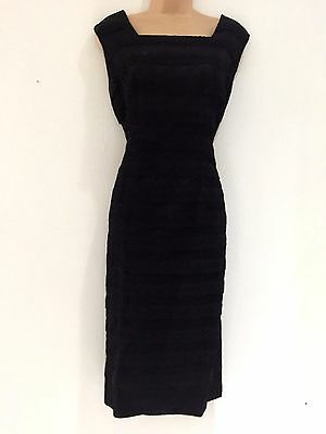 Vintage 1950's Black Floral Lace & Net Layered Wiggle Evening Party Dress 18*