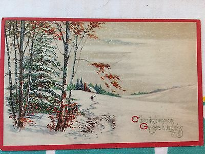 Antique Christmas Card: Large Snow Scene With Trees; Christmas Greetings