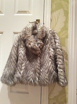 Excellent condition girls faux fur jacket age 7-8 years Marks & Spencers