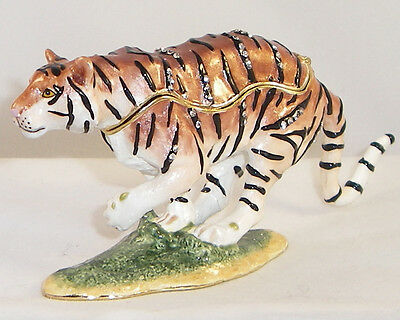 Kingspoint Gallant Tiger Pewter  Bejeweled Hinged Trinket / Jewelry Pill Box