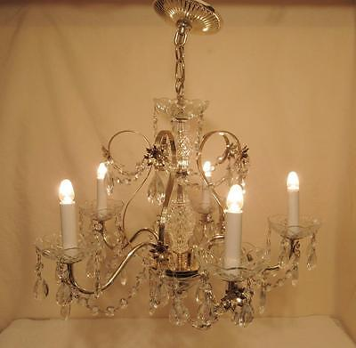 Vintage Ornate Hanging Crystal Prism Chandelier Light Ceiling Fixture Lamp 5 Arm
