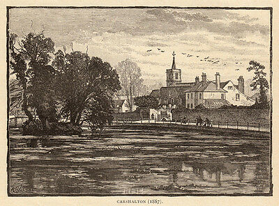 Greater London, Carshalton, 1890s antique engraving ready mounted SUPERB