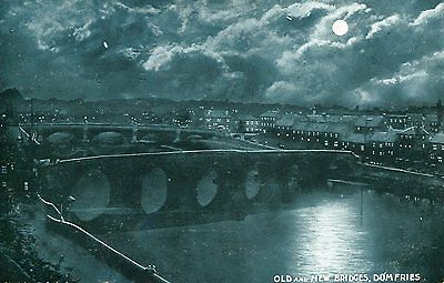 Moonlight view of Old and New Bridges DUMFRIES 1906