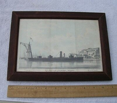 Framed US IRON CLAD STEAMSHIP ROANOKE Print-Hand Colored-8 X 11-1863