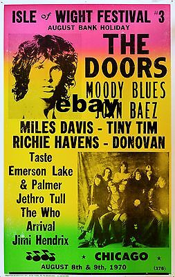 """The Doors Isle of Wight 1970 16"""" x 12"""" Photo Repro Concert Poster"""