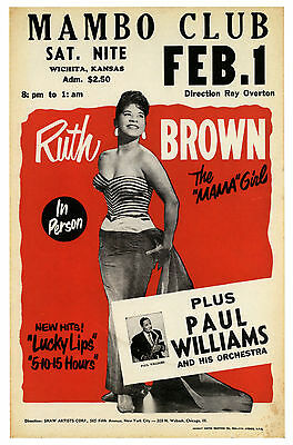 """Ruth Brown Mambo Club 16"""" x 12"""" Photo Repro Concert Poster"""