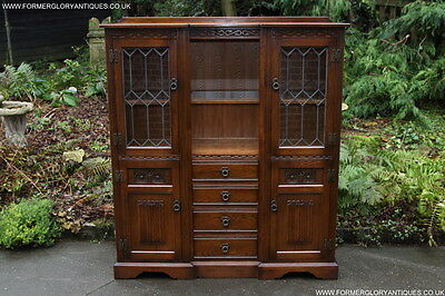 Old Charm Oak Display Cabinet Cupboard Sideboard Dresser Base Hall Table Drawers