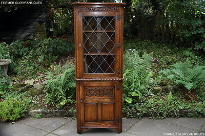 Jaycee Old Charm Carved Oak Corner Display China Cabinet Cupboard Shelves Stand