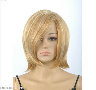Hot Sell New Fashion Blonde Mix Short Straight Women's Lady's Hair Wig Wigs +Cap