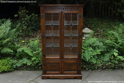 Old Charm Jaycee Light Oak Display China Cabinet Cupboard Book Lamp Table Stand