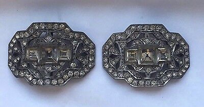 Pair of Antique Victorian French Paste  Shoe / Belt Buckles c1890