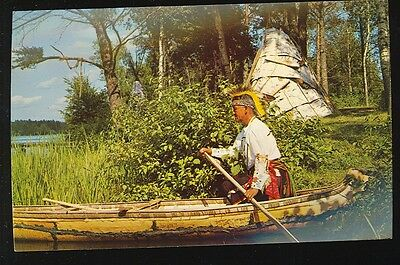 American Indian in Canoe Shoving off Riverbank (unposted nice(indianA914*