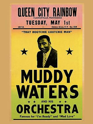 "Muddy Waters Clarksville 16"" x 12"" Photo Repro Concert Poster"