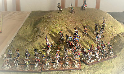 28mm French Metal Napoleonic Painted & Based Infantry with command stand (36)