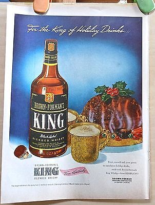 1947  magazine ad for Brown-Forman's King Whisky - hot toddies & plum pudding
