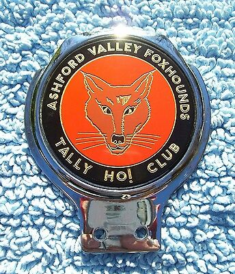 VINTAGE 1960s ASHFORD VALLEY FOXHOUNDS CAR BADGE - TALLY HO! CLUB FOX HUNT RARE