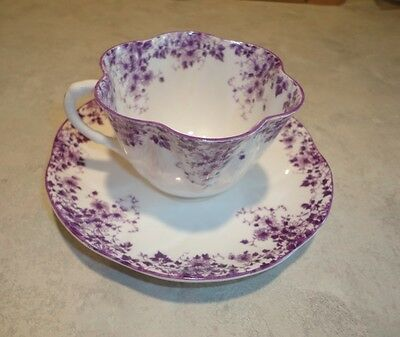 """Shelley Dainty """"mauve"""" Cup & Saucer In Excellent Condition #051/m #1"""