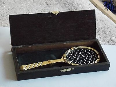 """Comical Small Brass Tennis Racket and Box Saying """"Love is our Game"""""""