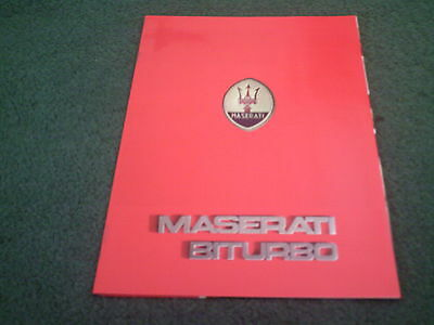 1982 to 1987 Maserati Bi Turbo BITURBO COUPE FRENCH 10 PAGE COLOUR BROCHURE