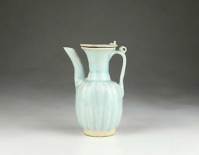 Rare Antique 11/12thC Chinese Northern Song Qingbai Covered Lobed Fluted Ewer