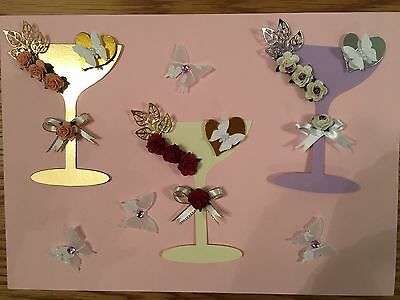 3 Champagne Glass Card Toppers