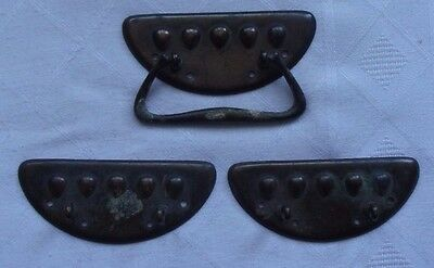 One Vintage / Antique / Arts & Crafts Copper Drawer Handle With Two Back Plates