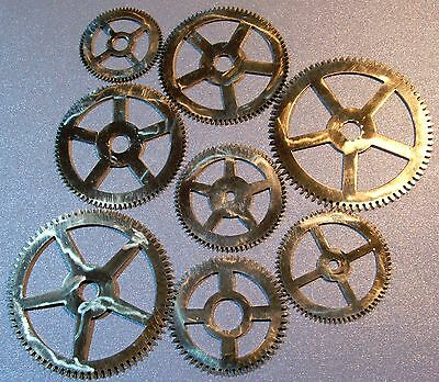 CLOCK PARTS - POLISHED BRASS GEARS COGS STEAMPUNK MODEL MAKERS LOT OF 8pcs -