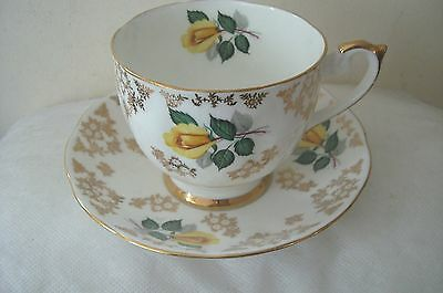 Vintage Queen Anne Large Cup and Saucer Yellow Roses