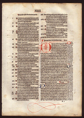 1494 Commentary on City of God Incunable Leaf  Highly Decorated St Augustine