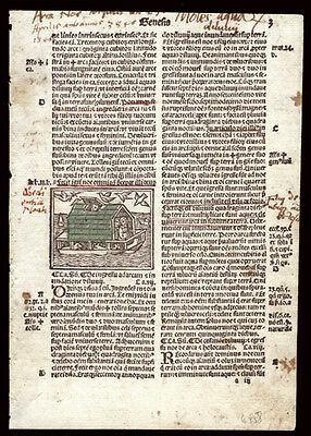 Original Giunta 1519 Bible Leaf Genesis 6-9 Woodcut of Noah's Ark Annotations
