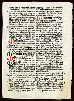 1492 Incunable Leaf Summa Angelica Civil & Canon Law 6 Hand-Painted Letters
