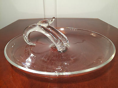 """Rare Signed STEUBEN Art-Glass Round Handled 10.5"""" CANAPE TRAY Platter Plate"""