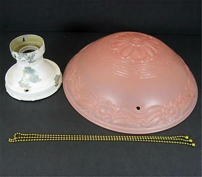 3 Chain Art Deco Pink Glass Shade Hanging Ceiling Metal Light Fixture New Chains