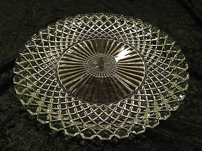 "Vintage ANCHOR HOCKING Waffle/Waterford Pattern 14"" Round Clear Glass Platter"