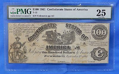 PMG VF 25 1861 $100 Confederate States Note T-13 CSA Sailor / Cotton Bales C6038