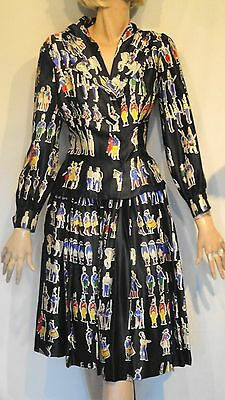 Vintage Black Novelty Soldier Print Outfit Jacket Pleated Skirt 12 Arde