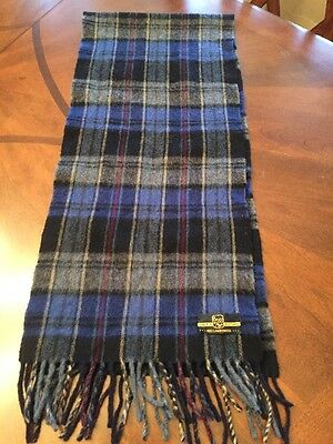 Begg of Ayr Made in Scotland Cashmere Wool Classic Tartan Plaid Blue Green Scarf