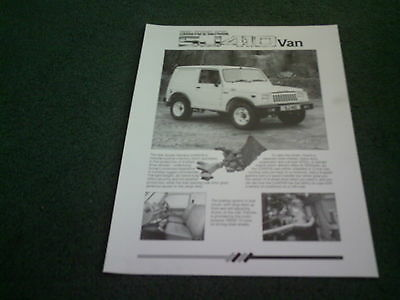 September 1988 Suzuki SJ 410 SANTANA VAN HARD TOP - UK LEAFLET BROCHURE