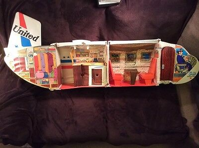 Vintage 1970's Barbie Friend Ship Mattel United Airlines Plane