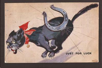 "Cats. Lucky Black Cat Comic. Horseshoe. ""Just For Luck"" 1929."