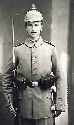 Ww1-German Soldier With Spike Helmet And Rifle With Baionet+Top Photo+