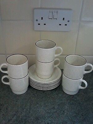 Poole Parkstone Cups And Saucers X 6 Beautiful
