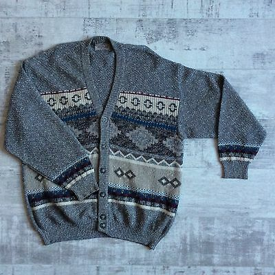 vtg WOOL BLEND FAIR ISLE CHUNKY PATTERN KNITTED WINTER CARDIGAN by SUSPENSE XXL