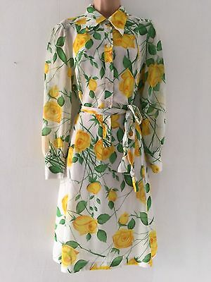 Vintage 70's White Yellow Green Floral Print Belted Long Sleeve Midi Dress 14