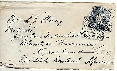1908 British Central Africa Postal Stationery cover to Blantyre