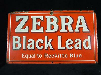"RARE ANTIQUE GENUINE OLD ENAMEL ZEBRA BLACK LEAD ADVERTISING SIGN 20"" x 12"""