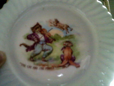 Unmarked Bone China Small Nursery Rhyme Plate - The Cat And The Fiddle