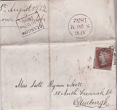 1852 QV GLASGOW ENTIRE LETTER WITH 1d RED IMPERF STAMP MAILED TO EDINBURGH