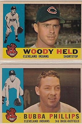 (2) Topps 1960 Cleveland Indians Baseball Cards