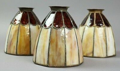 Antique Set Of Three Arts And Crafts Leaded Glass Shades